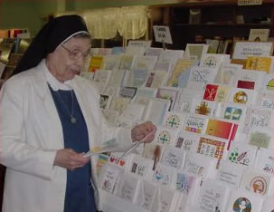 Nun in card shop. From www.scholasticafortsmith.org